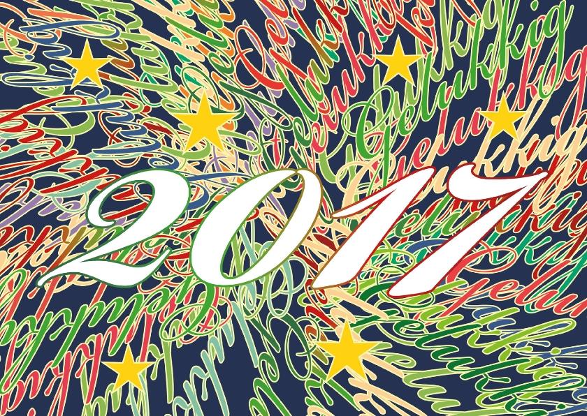 Nieuwjaarskaarten - Gelukkig 2017 omlijnde tekst