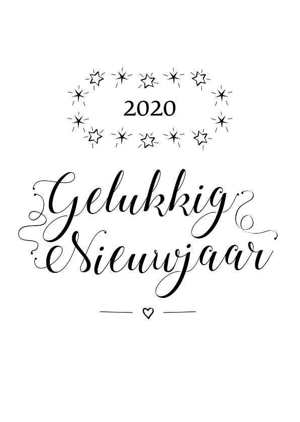 Nieuwjaarskaarten - Gelukkig nieuwjaar 2020 zwart wit