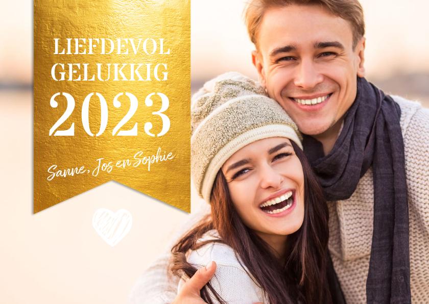 Nieuwjaarskaarten - Grote foto met gouden label nieuwjaarskaart