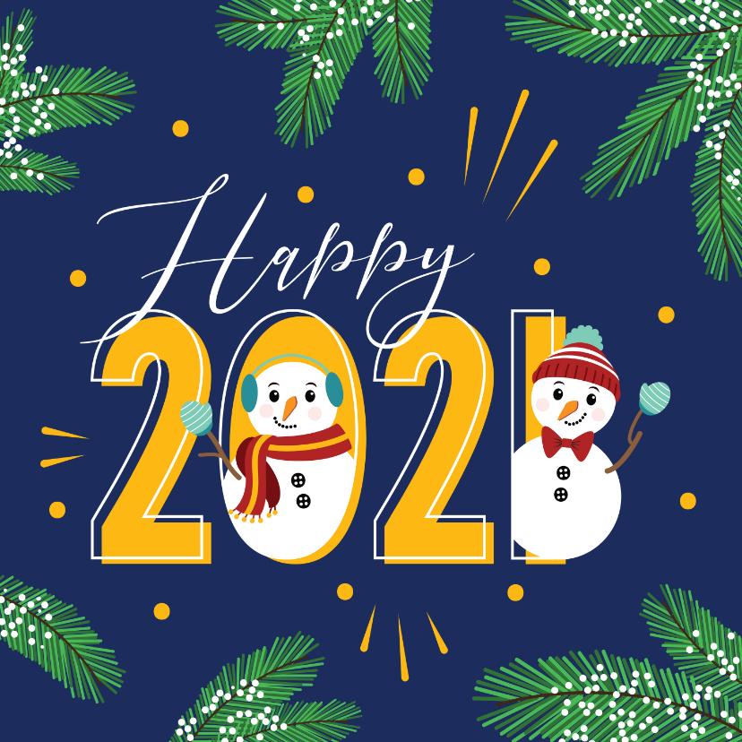 Nieuwjaarskaarten - Happy 2020 met deze gezellige sneeuwpoppen