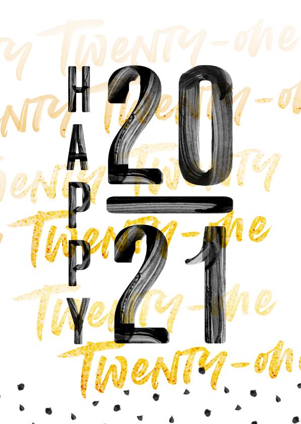 Nieuwjaarskaarten - Happy 2020 verf letters