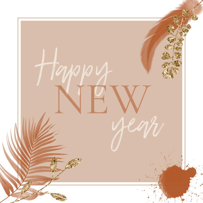 Nieuwjaarskaarten - Happy new year boho-roze