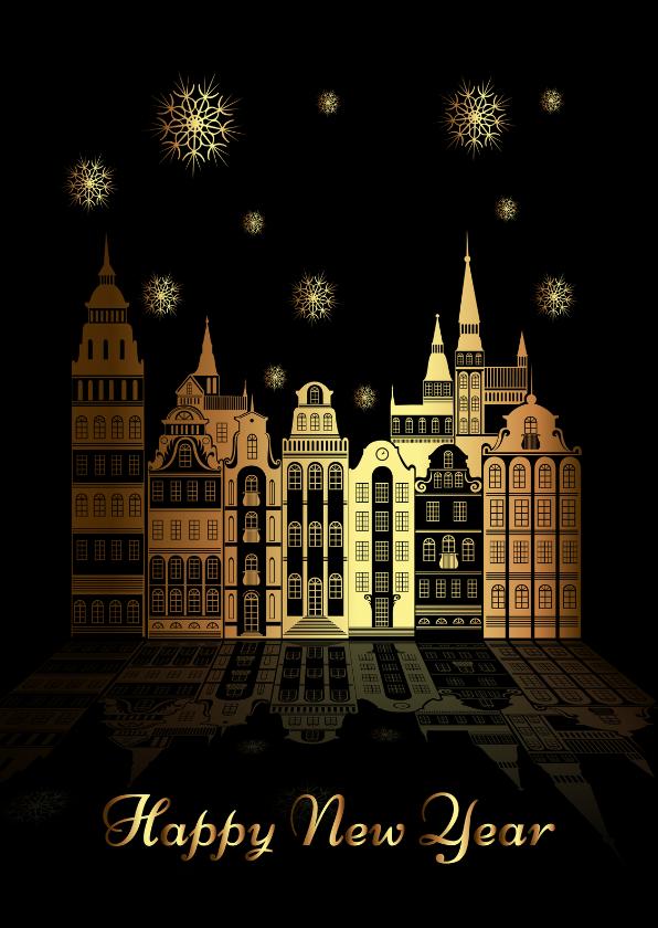 Nieuwjaarskaarten - Happy New Year goudprint