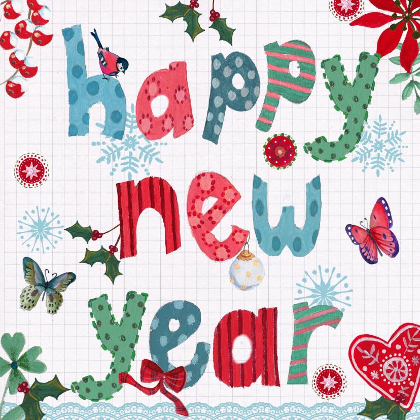 Nieuwjaarskaarten - Happy New Year LETTERS vrolijk