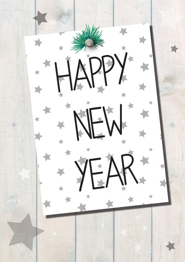 Nieuwjaarskaarten - Happy new year, stars