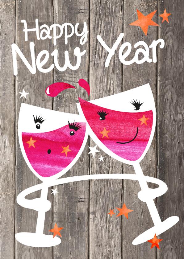 Nieuwjaarskaarten - Happy New Year - wijnglazen hout