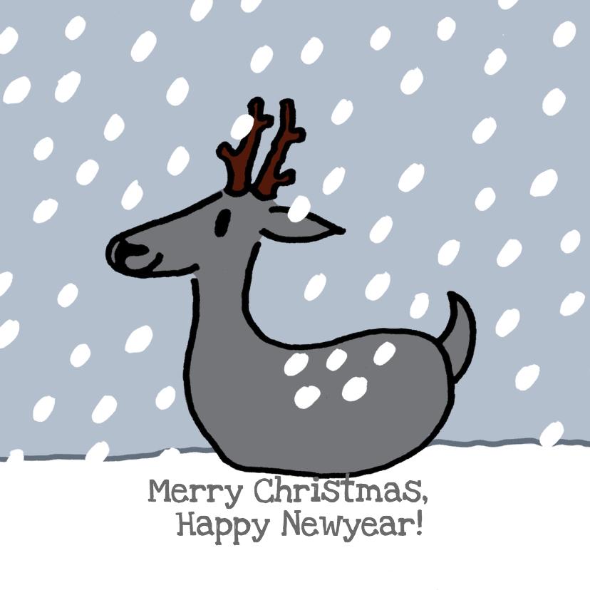Nieuwjaarskaarten - Hertje met sneeuwvlokjes