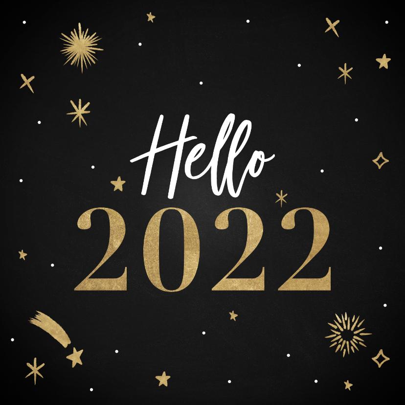 Nieuwjaarskaarten - Hippe nieuwjaarskaart Hello 2022 met vuurwerk en sterren