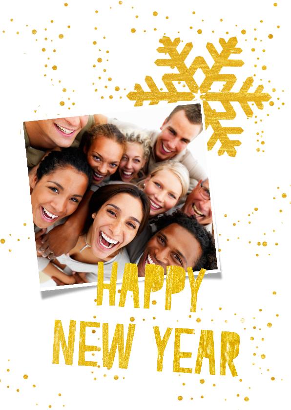 Nieuwjaarskaarten - Hippe nieuwjaarskaart in wit en goud met eigen foto's