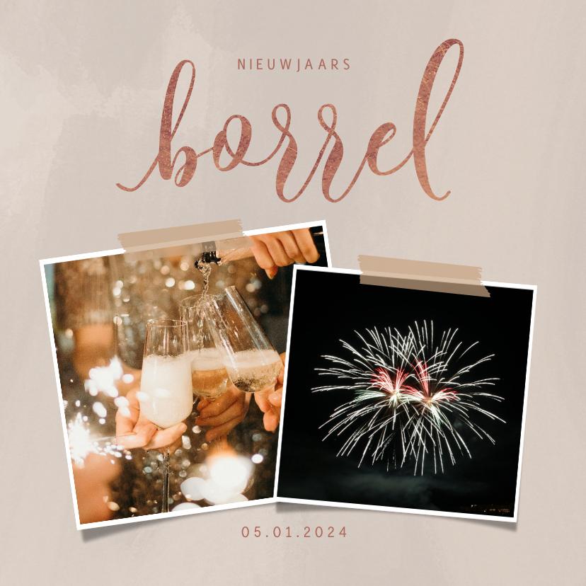 Nieuwjaarskaarten - Hippe nieuwjaarskaart met borrel uitnodiging en foto's