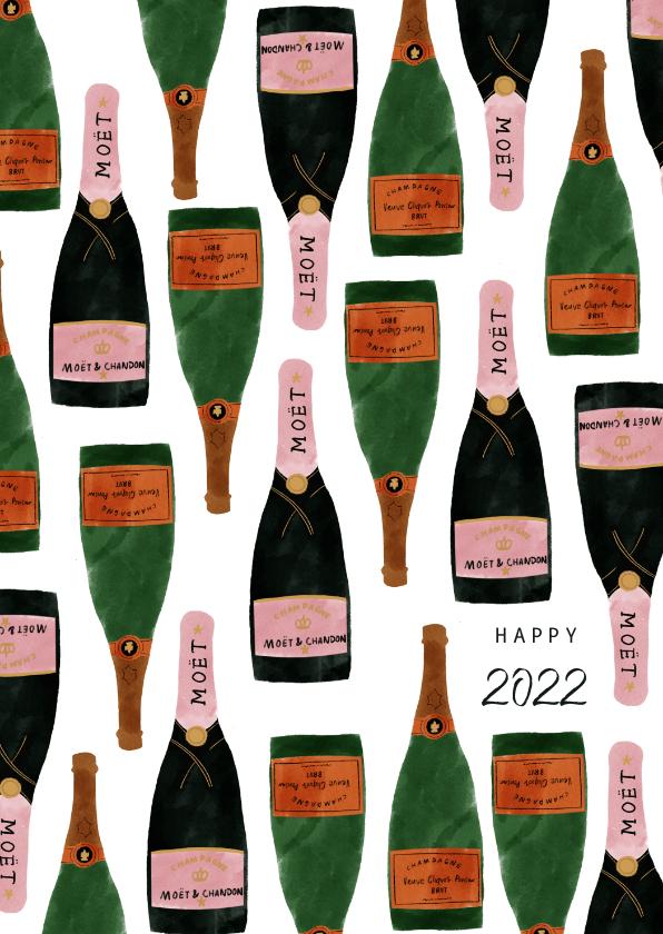 Nieuwjaarskaarten - Hippe nieuwjaarskaart met champagneflessen en 2022