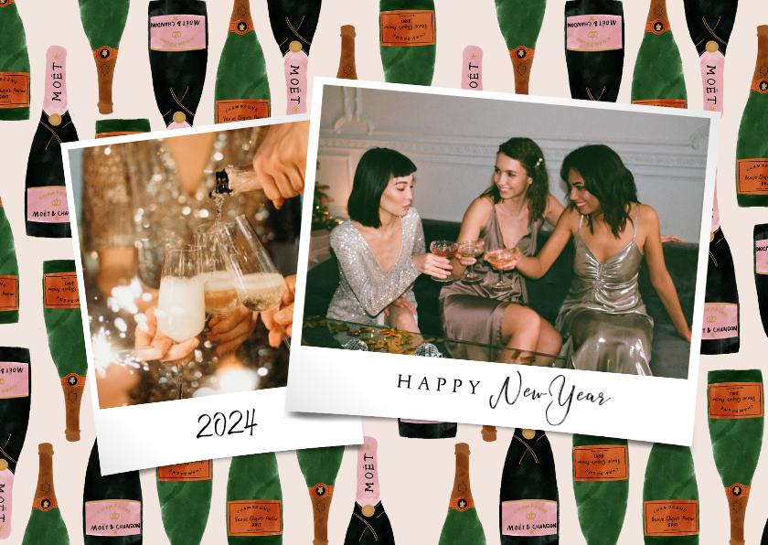 Nieuwjaarskaarten - Hippe nieuwjaarskaart met foto's en champagne achtergrond