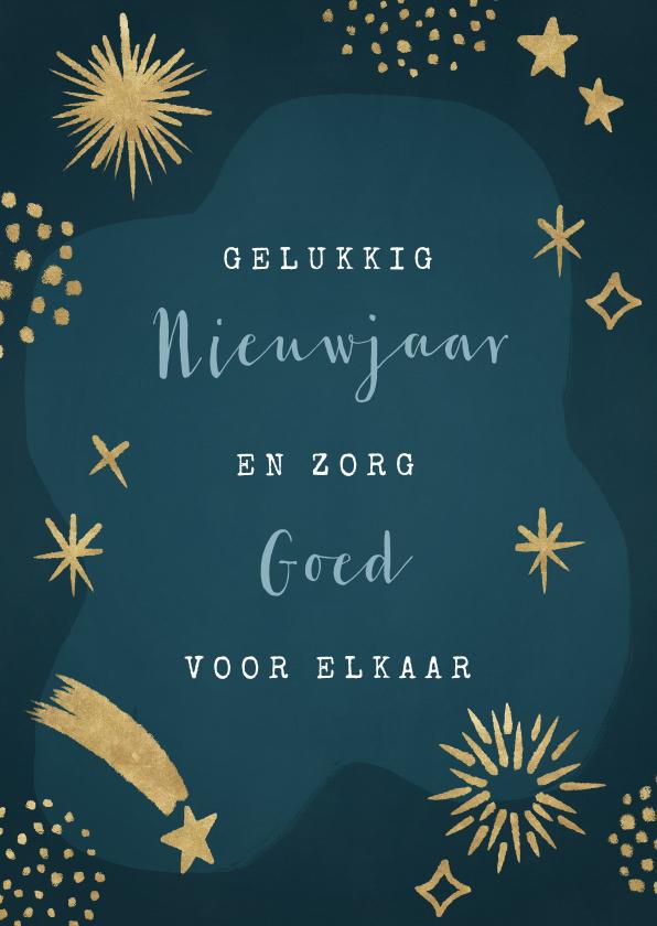 Nieuwjaarskaarten - Hippe nieuwjaarskaart met gouden vuurwerk en sterren