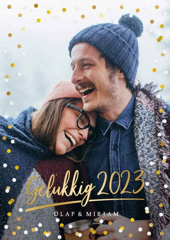 Nieuwjaarskaarten - Hippe nieuwjaarskaart met grote foto, 2022 en confetti