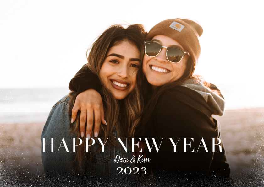 Nieuwjaarskaarten - Hippe nieuwjaarskaart met grote foto en happy newyear