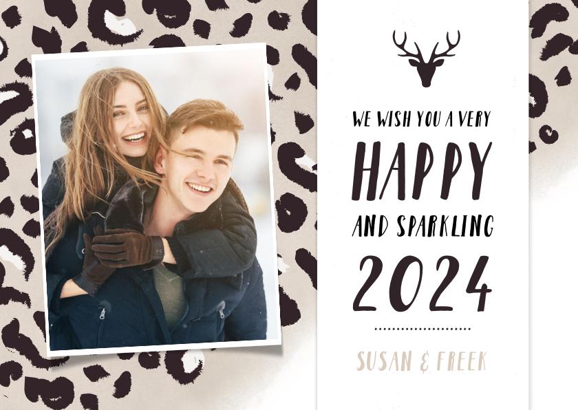 Nieuwjaarskaarten - Hippe nieuwjaarskaart met taupe panterprint en eigen foto