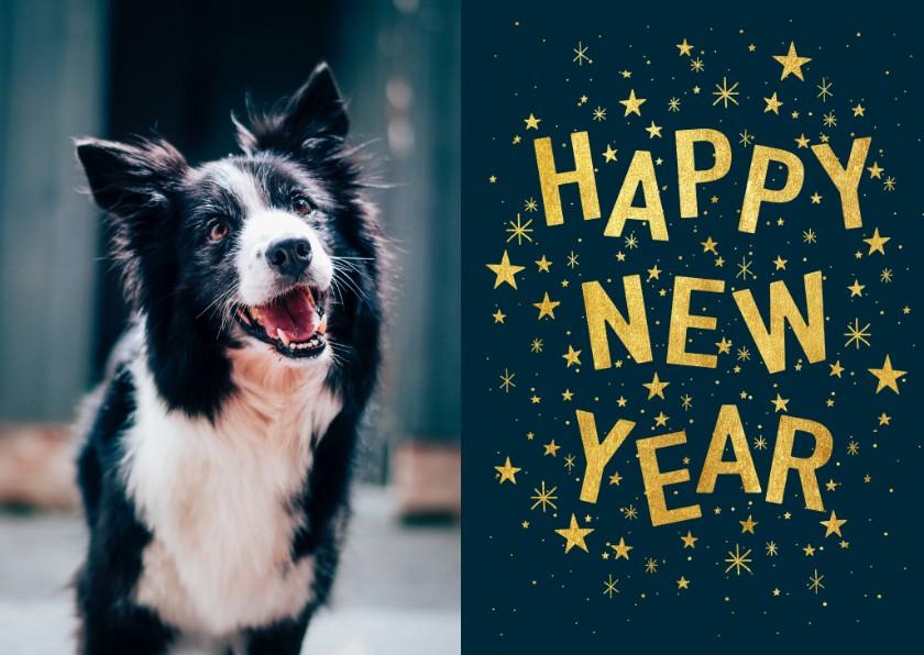 Nieuwjaarskaarten -  Hippe nieuwjaarskaart met typografie, sterren en foto