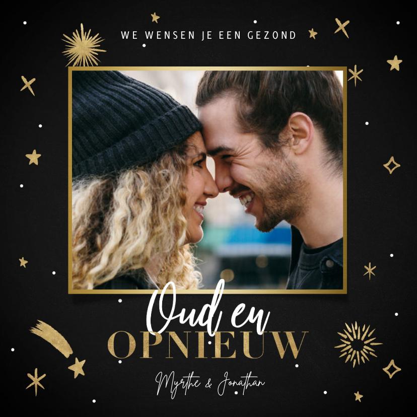 Nieuwjaarskaarten - Hippe nieuwjaarskaart Oud en Opnieuw sterren en vuurwerk