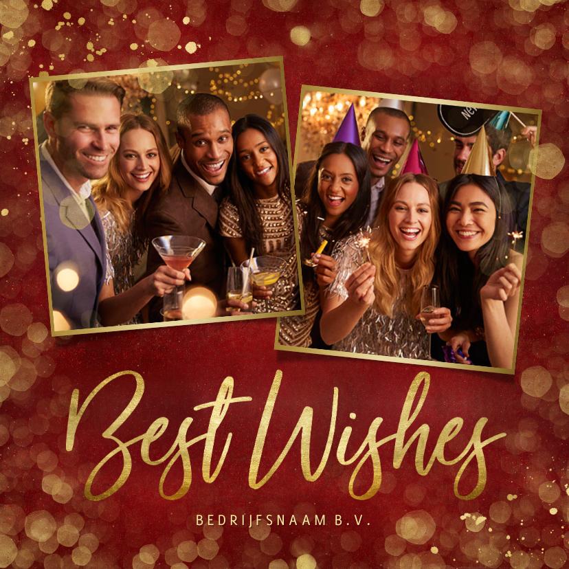 Nieuwjaarskaarten - Internationale nieuwjaarskaart 'Best Wishes' - rood met foto