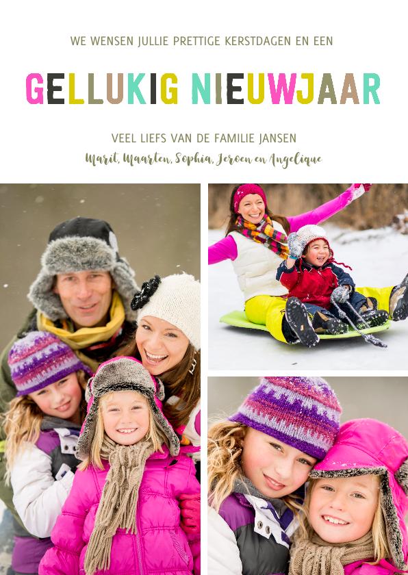 Nieuwjaarskaarten - Kerstkaart & Nieuwjaarskaart letters gekleurd
