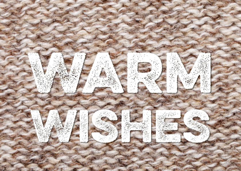 Nieuwjaarskaarten - Kerstkaart Sending Warm Wishes breiwerk bruin