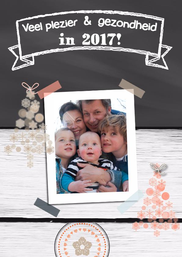 Nieuwjaarskaarten - Krijtbord Hout print eigen foto