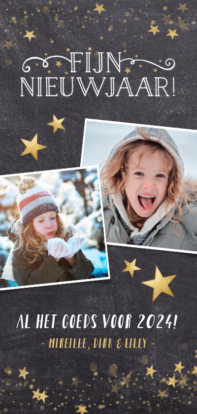Nieuwjaarskaarten - Langwerpige nieuwjaarskaart met een krijtbord achtergrond