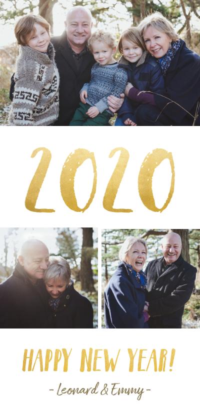 Nieuwjaarskaarten - Langwerpige nieuwjaarskaart met fotocollage en jaartal 2020