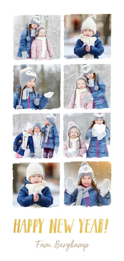 Nieuwjaarskaarten - Langwerpige nieuwjaarskaart met fotocollage met 8 fotos