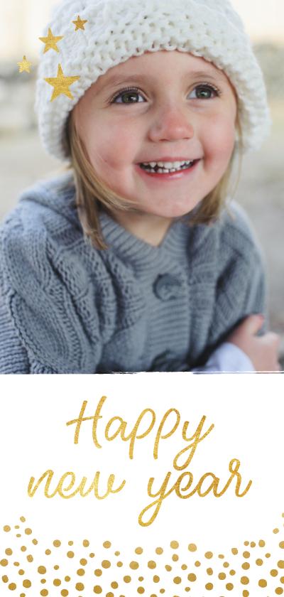 Nieuwjaarskaarten - Langwerpige nieuwjaarskaart met grote foto en goud