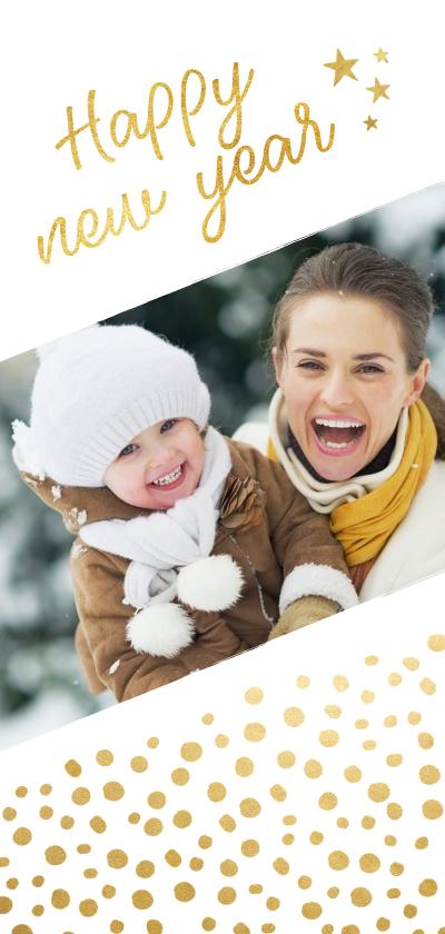 Nieuwjaarskaarten - Langwerpige nieuwjaarskaart met schuine foto