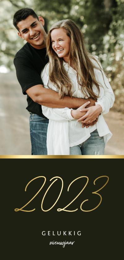 Nieuwjaarskaarten - Langwerpige nieuwjaarskaart stijlvol gouden 2022 en foto