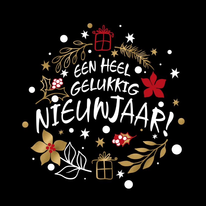 Nieuwjaarskaarten - Leuke grafische nieuwjaarskaart met sterren, bloem en pakjes