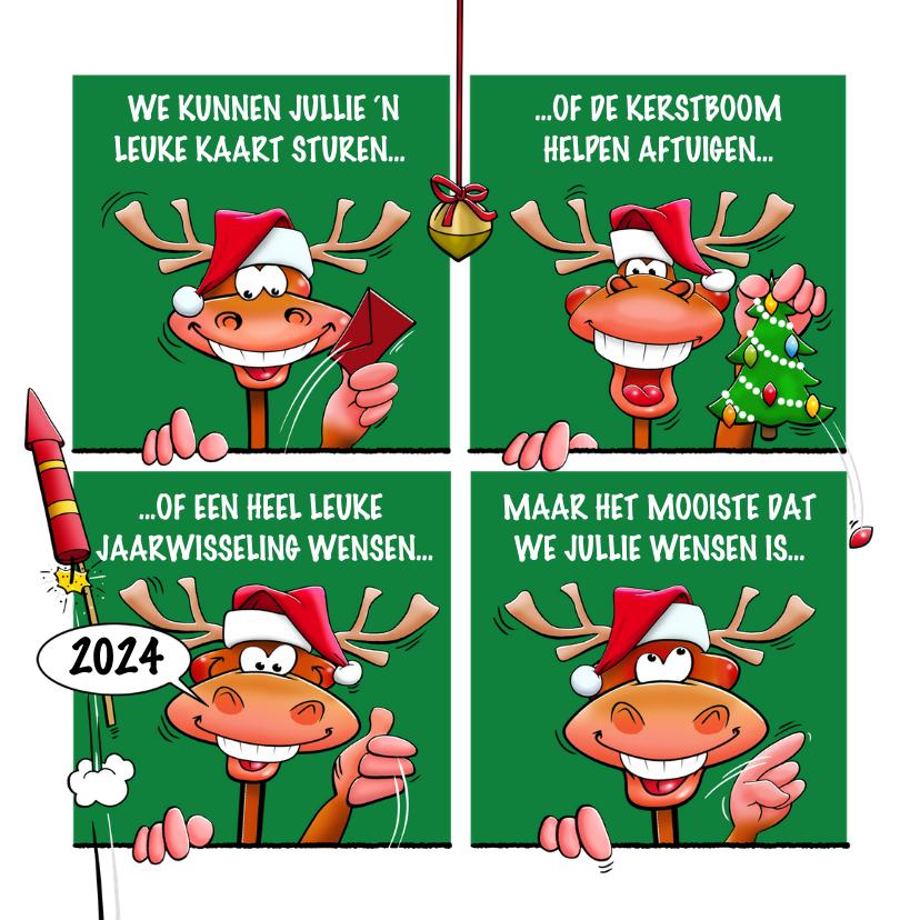 Nieuwjaarskaarten - Leuke kerstkaart met rendieren, als stripverhaal