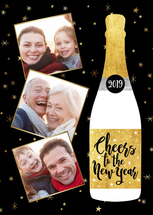 Nieuwjaarskaarten - Leuke nieuwjaarskaart met champagnefles en foto's
