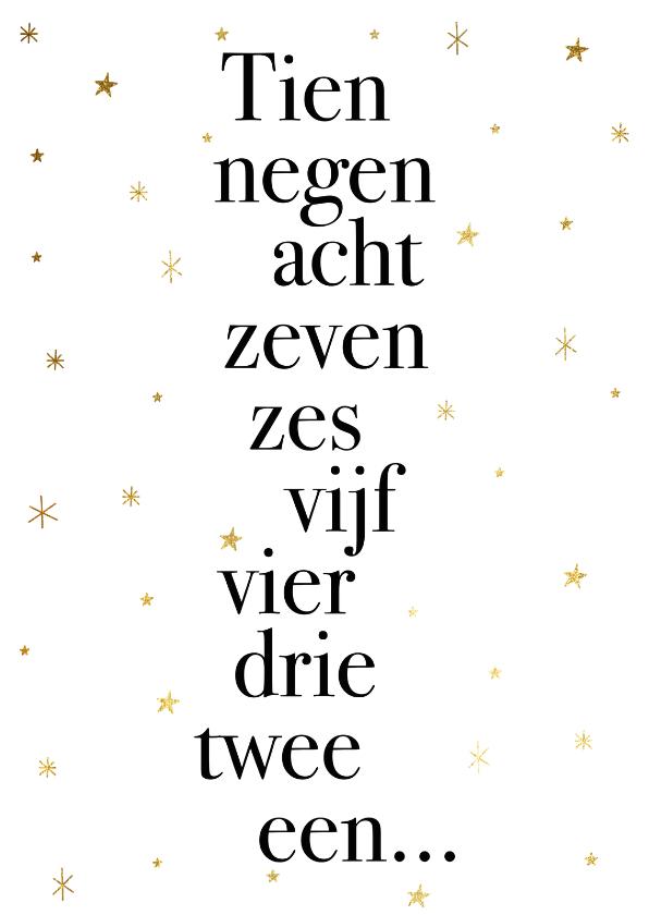 Nieuwjaarskaarten - Leuke nieuwjaarskaart met typografie en gouden sterren