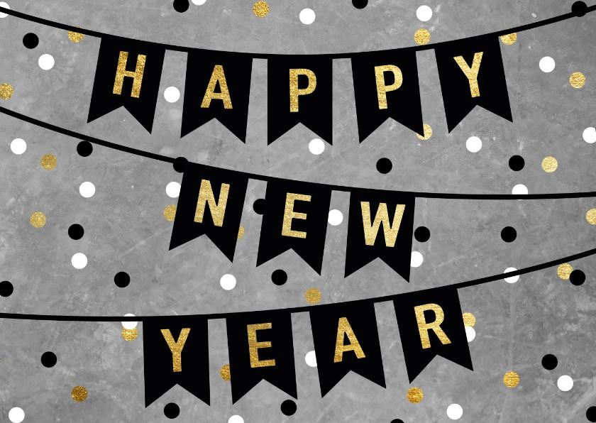 Nieuwjaarskaarten - Leuke nieuwjaarskaart met vlaggen, tekst en confetti