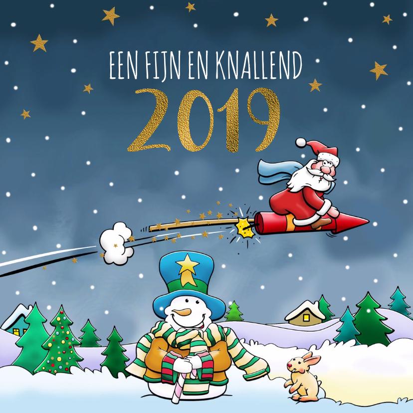 Nieuwjaarskaarten - Leuke nieuwjaarskaart met vliegende kerstman en sneeuwpop
