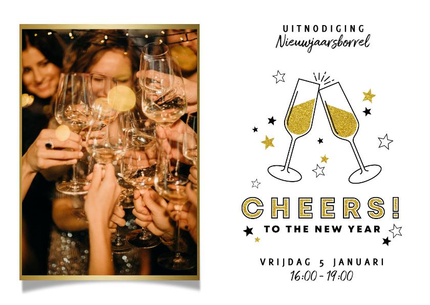 Nieuwjaarskaarten - Leuke uitnodiging nieuwjaarsborrel met foto en champagne
