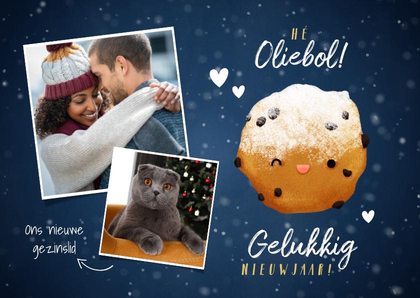Nieuwjaarskaarten - Lieve nieuwjaarskaart Hé Oliebol met foto's en oliebol