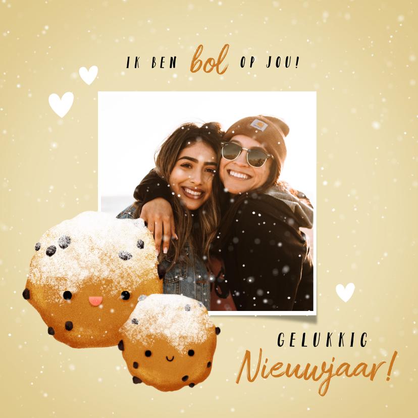 Nieuwjaarskaarten - Lieve nieuwjaarskaart met oliebollen foto en hartjes