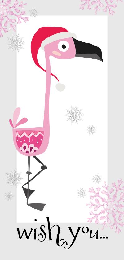 Nieuwjaarskaarten - Moderne nieuwjaarskaart flamingo