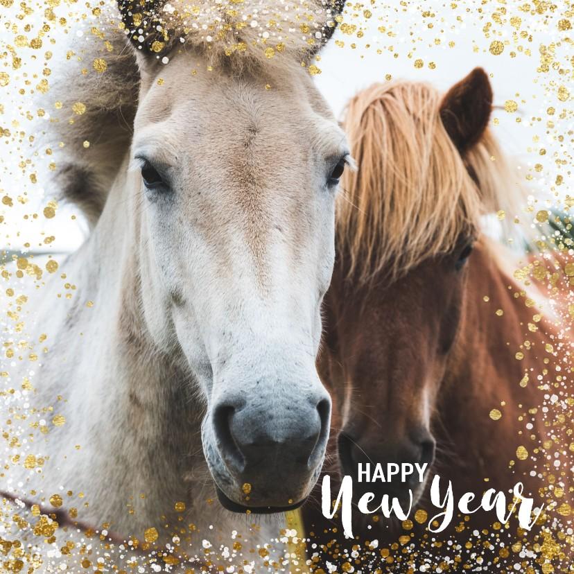 Nieuwjaarskaarten - Moderne nieuwjaarskaart met goud en wit spetter kader