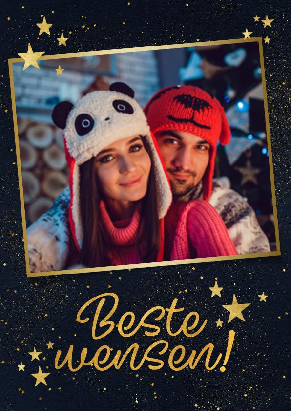 Nieuwjaarskaarten - Moderne nieuwjaarskaart met gouden groet en sterren