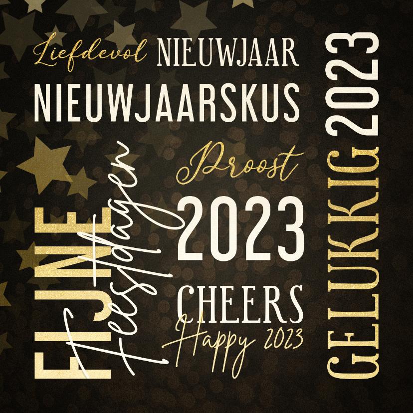 Nieuwjaarskaarten - Moderne nieuwjaarskaart met woorden in goudlook