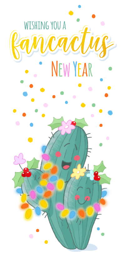 Nieuwjaarskaarten - Nieuwjaar Fancactus kerstlichtjes
