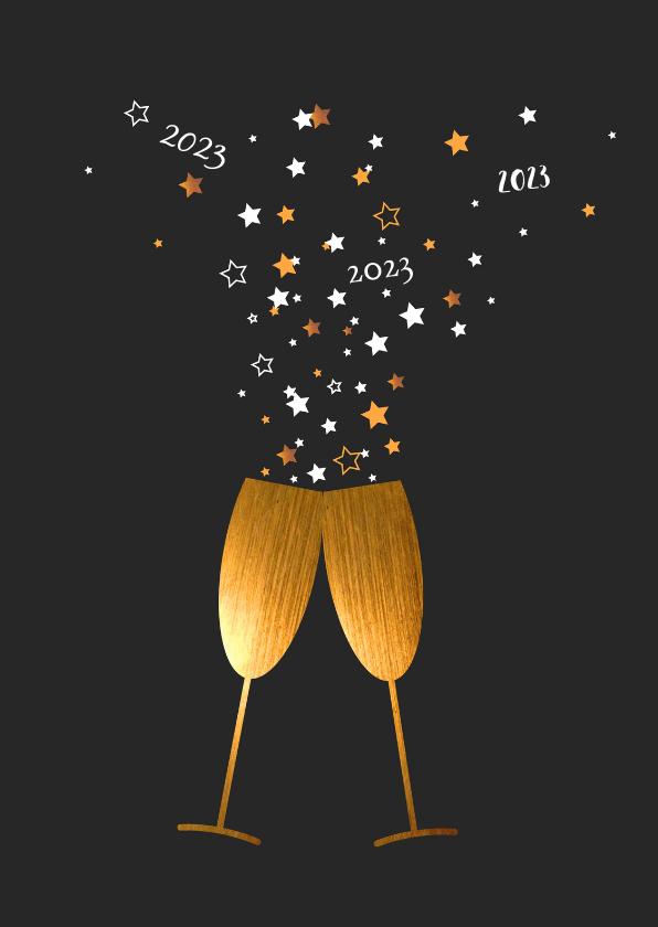 Nieuwjaarskaarten - Nieuwjaar - Glazen goud, sterren