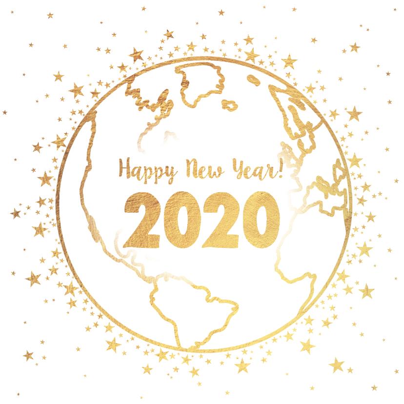 Nieuwjaarskaarten - Nieuwjaarskaart goud wereldbol met sterren 2020
