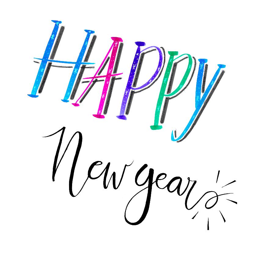 Nieuwjaarskaarten - Nieuwjaar handlettering wit - HR