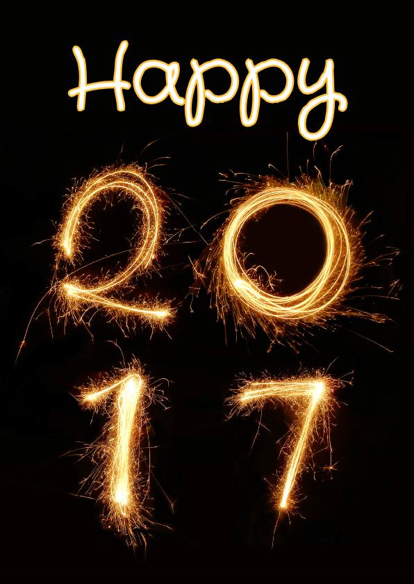 Nieuwjaarskaarten - Nieuwjaar happy 2017 vuurwerk